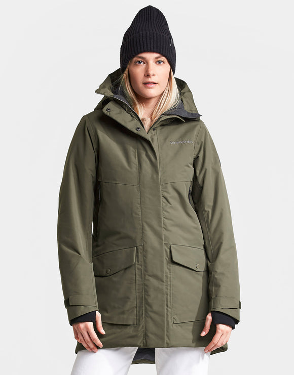Didriksons Womens Frida Parka Jacket - Crocodile Green