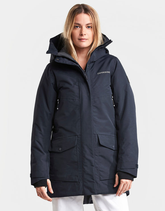Didriksons Womens Frida Parka Jacket - Dark Night Blue