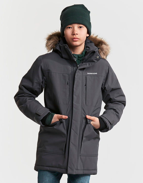 Didriksons Boys Madi Parka Jacket - Coal Black