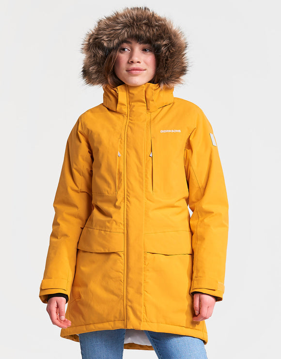 Didriksons Girls Jamila Parka Jacket - Oat Yellow