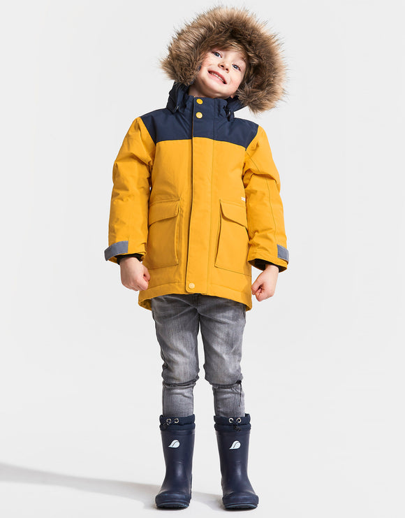 Didriksons Kids Kure Parka Jacket - Oat Yellow