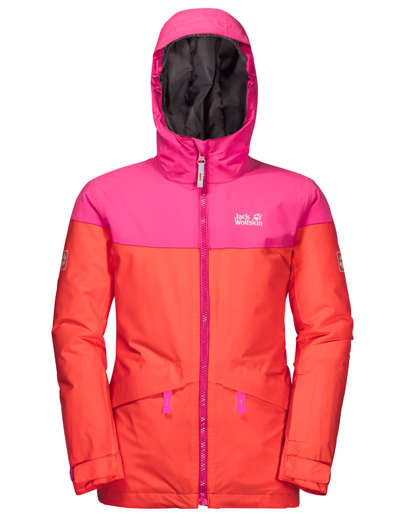 Jack Wolfskin Girls Powder Mountain Ski Jacket - Orange Coral