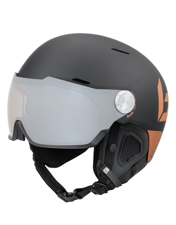 Bolle Might Visor Premium Ski Helmet with Visor - Matte Black and Blush Gold