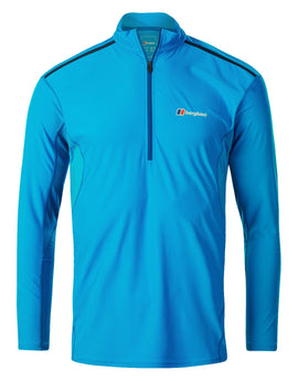 Berghaus Mens Super Tech Tee LS Zip - Adriatic Blue
