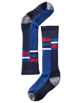 SmartWool Kids Wintersport Stripe Ski Sock - Navy
