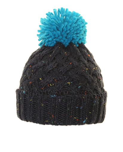 Mens BoBo Speckle Chunky Knit Bobble Hat - Blue