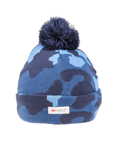 Camo Thinsulate Knitted Bobble Hat - Navy