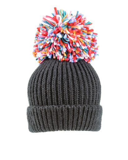 Firework Large Knitted Pompom Hat - Charcoal