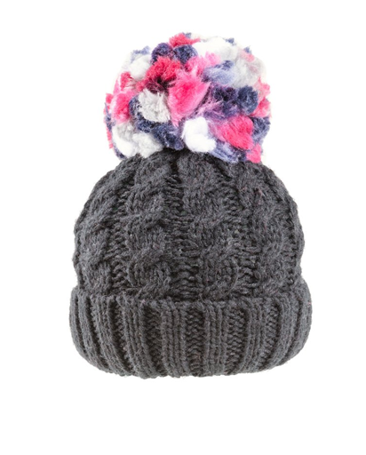 Ladies Rita Chunky Knit Bobble Hat - Fleece Lined - Charcoal