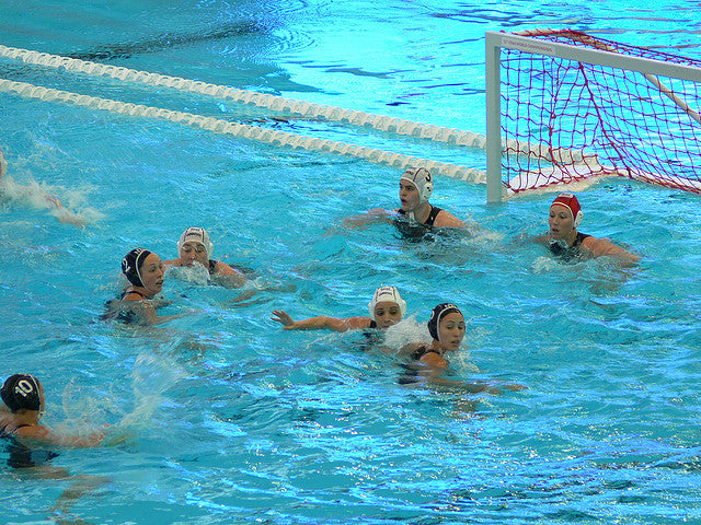 Water Polo Caps –The rules of FINA state that the home team must wear white  caps and the visitors wear a coloured cap. The coloured cap is usually blue  but ... 286d1629bc54