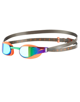 Speedo Fastskin Elite Mirror Goggle - Orange and Lawn Green