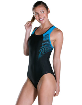 Speedo Speedo Fit Pro Swimsuit - Black and Windsor Blue
