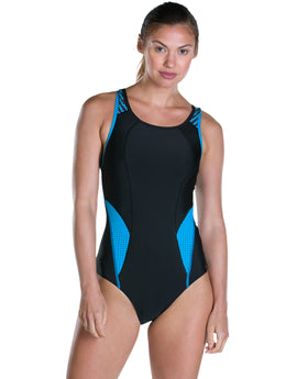 Speedo Speedo Fit PowerMesh Pro Swimsuit - Black and Windsor Blue