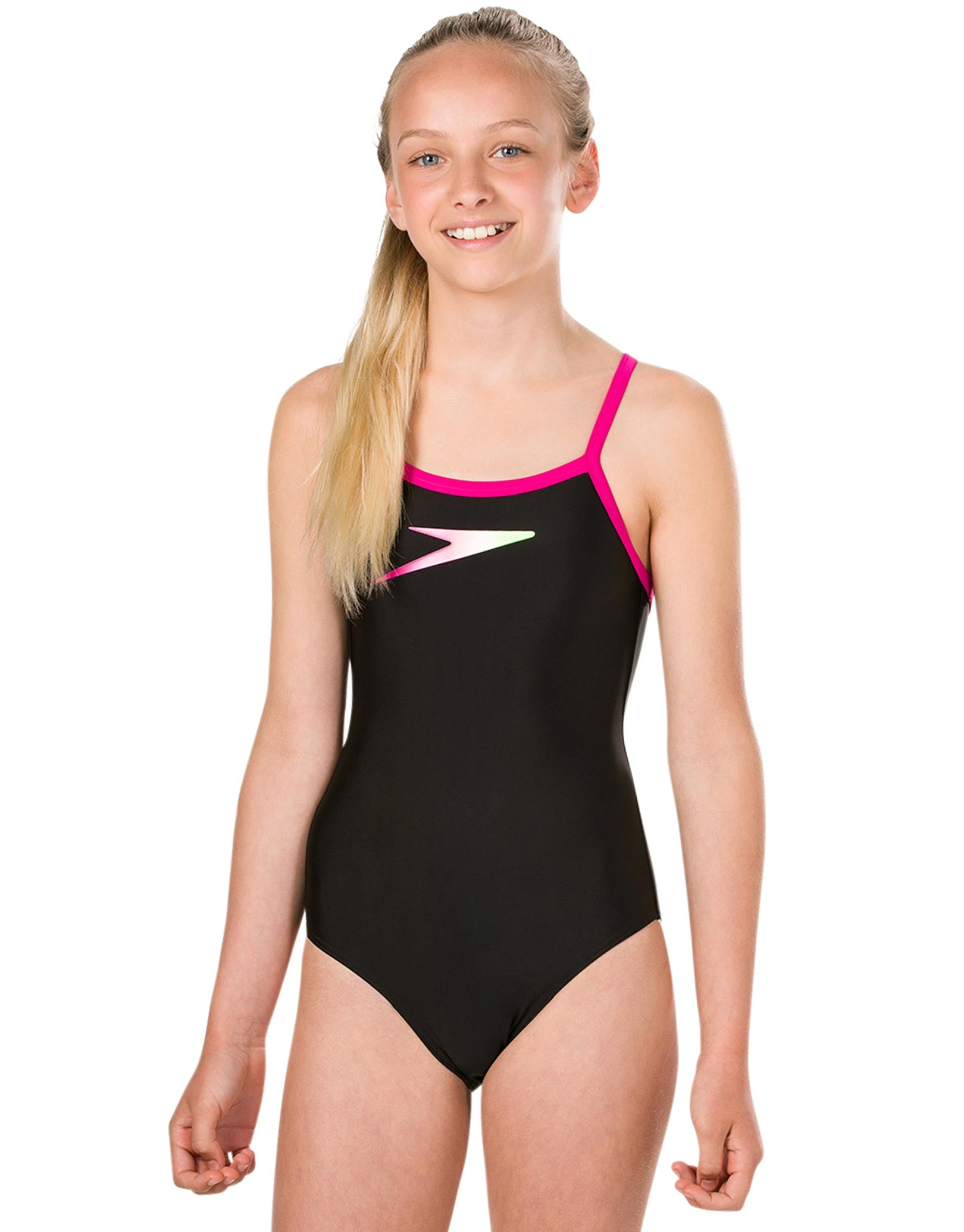 71a01e4f8db23 Girls Endurance 10 Placement Thinstrap Muscleback Swimsuit - Black and Pink