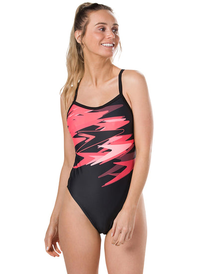 Speedo Endurance 10 Boom Placement Thinstrap Swimsuit - Black and Red