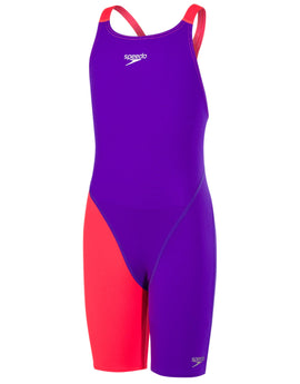 Speedo Girls Fastskin Endurance Plus Openback Kneeskin - Purple and Red