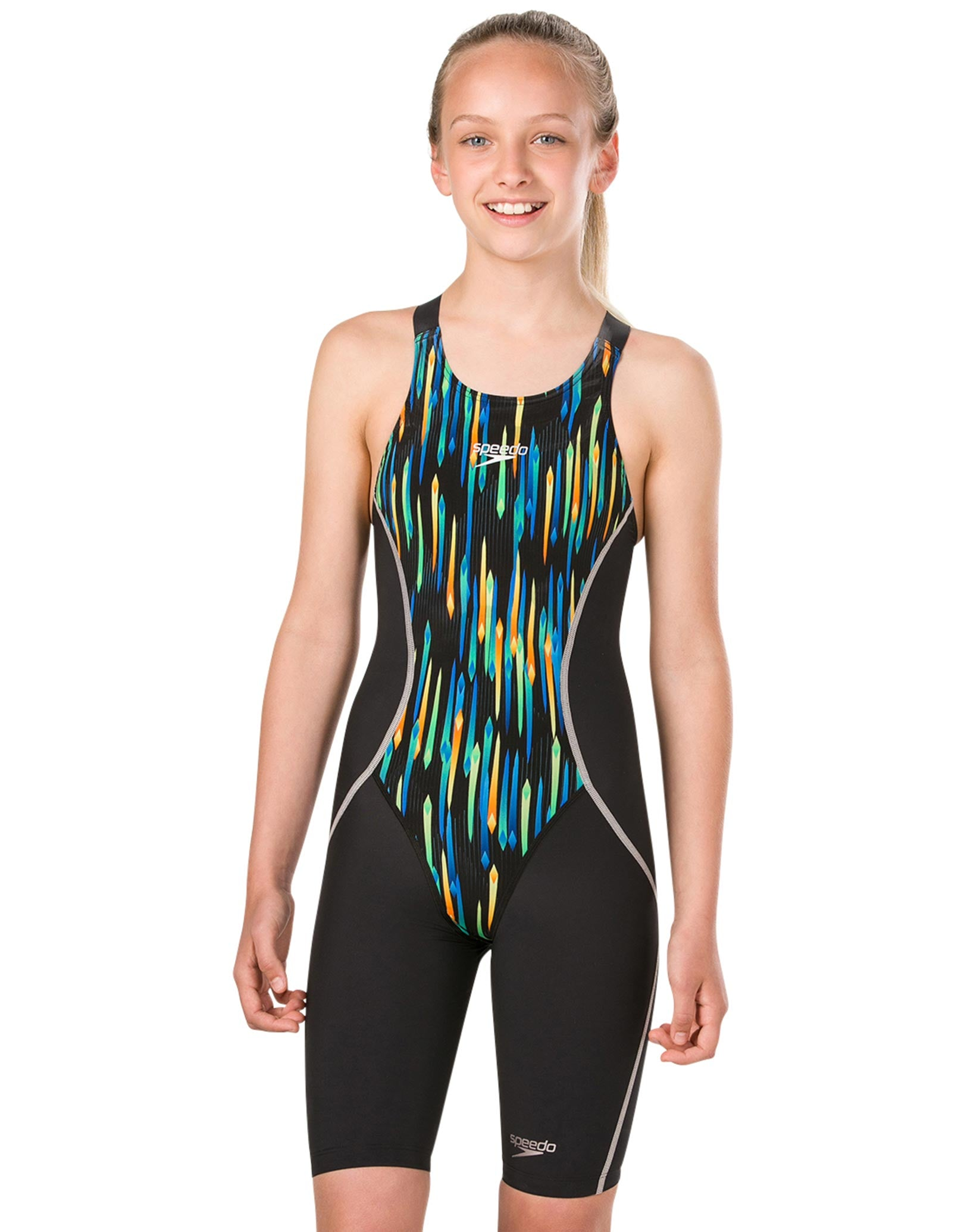 speedo girls fastskin junior lzr racer x kneeskin - black and chroma blue