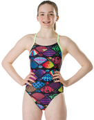 Speedo Girls Endurance Plus Tranquil Fan Thinstrap Crossback Swimsuit