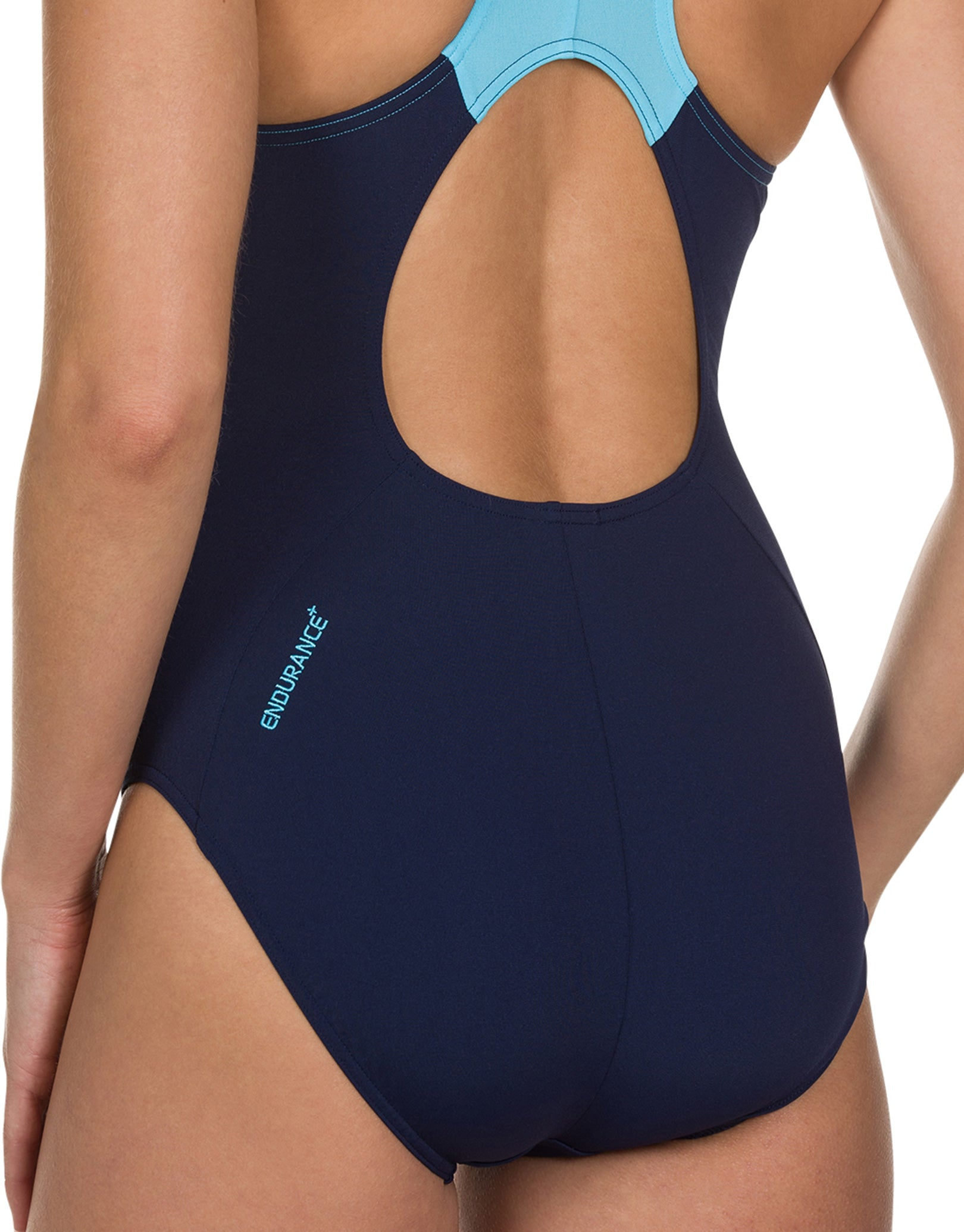 6c103bc3514f6 ... Speedo Endurance Plus Boom Splice Muscleback Swimsuit - Navy and Aqua