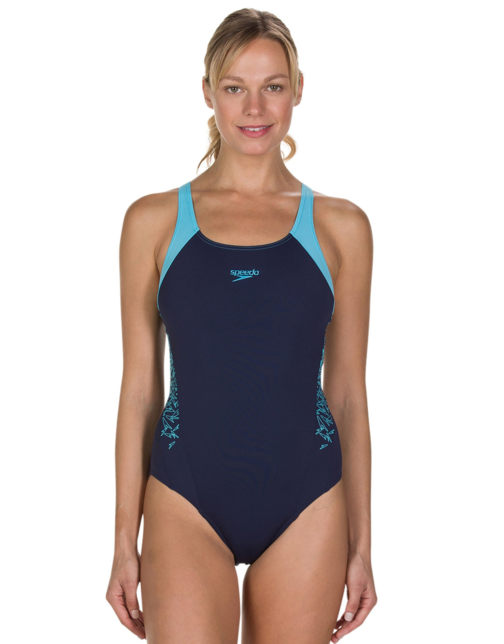 af5743f508631 Speedo Endurance Plus Boom Splice Muscleback Swimsuit - Navy and ...