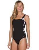 Speedo Sculpture Lunalustre Swimsuit - Black and White