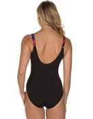 Speedo Sculpture Lunalustre Swimsuit - Black and Red