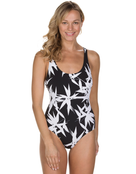 Speedo Sculpture Aurasheen Printed Swimsuit - Black and White