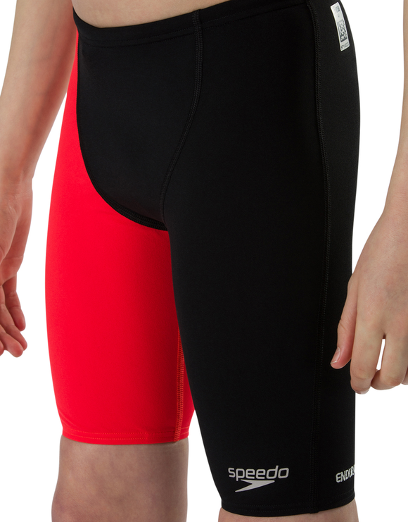 Speedo Boys Fastskin Endurance Plus High Waist Jammer - Black/Red/Papaya