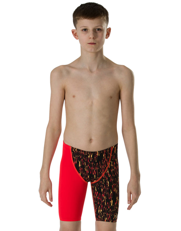 Speedo Boys Fastskin Endurance Plus High Waist Jammer - Black/Lava Red