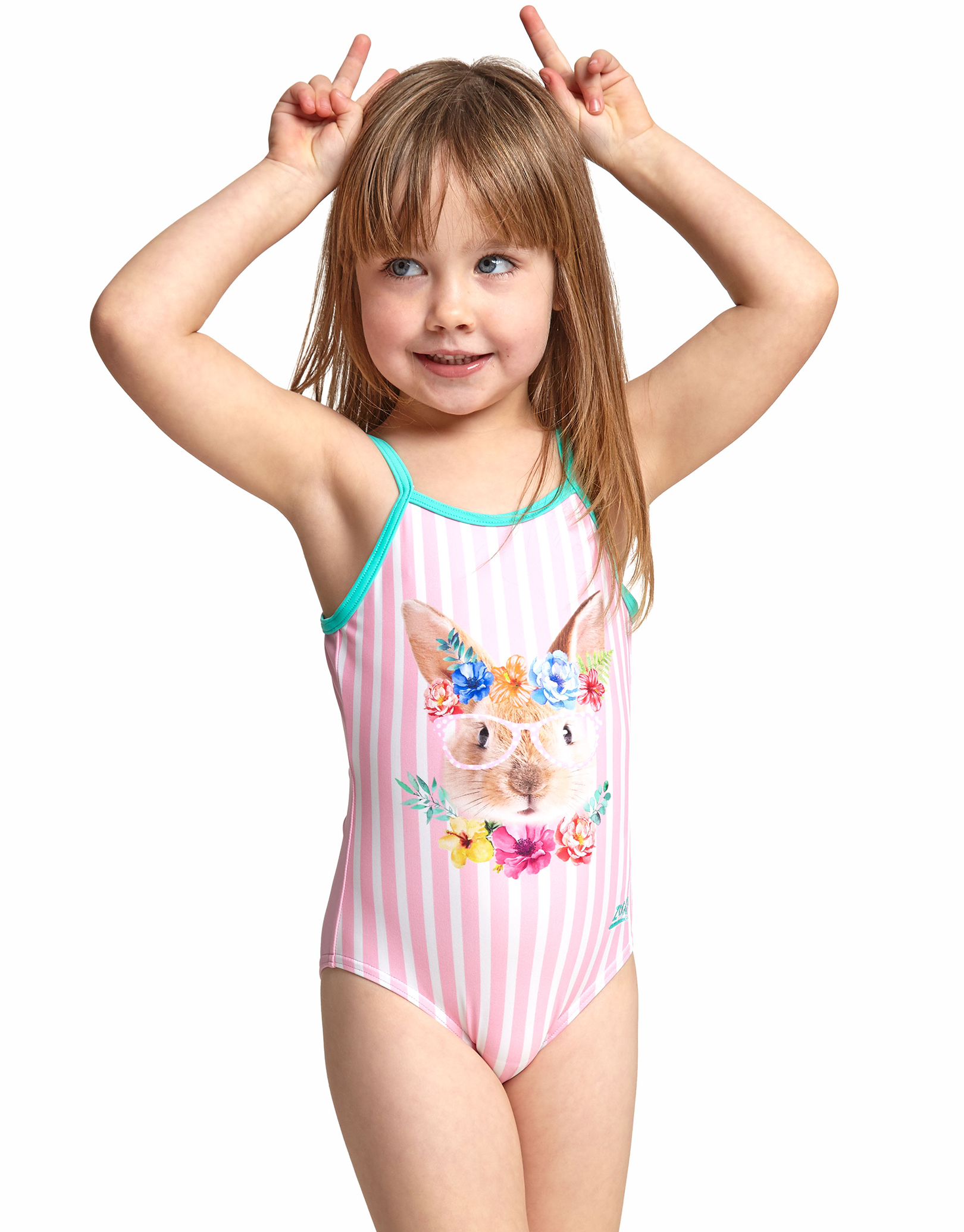 Zoggs Tots Girls Tropical Bunny U Back Swimsuit Simply