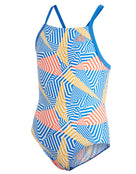 Adidas Girls Allover Thinstrap Swimsuit - Blue