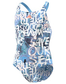 Adidas Girls Parley Swimsuit - Glow Blue