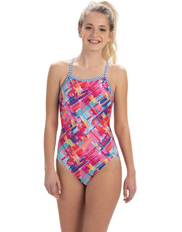 Dolfin Uglies Womens Basket Case V2 Back Swimsuit - Red/Multi