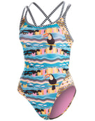 Dolfin Uglies Womens Toucan Sam Double Strap Open Keyhole Back Swimsuit -Multi
