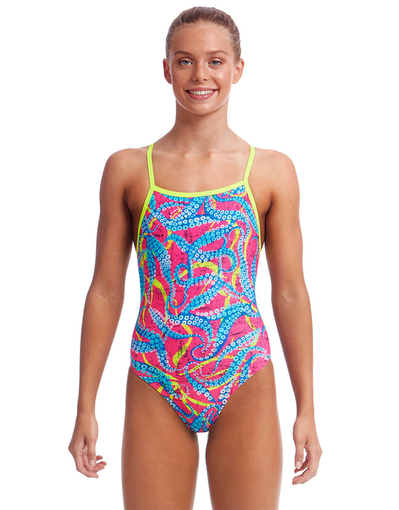 Funkita Girls Squeaky Squid Eco Tie Me Tight Swimsuit