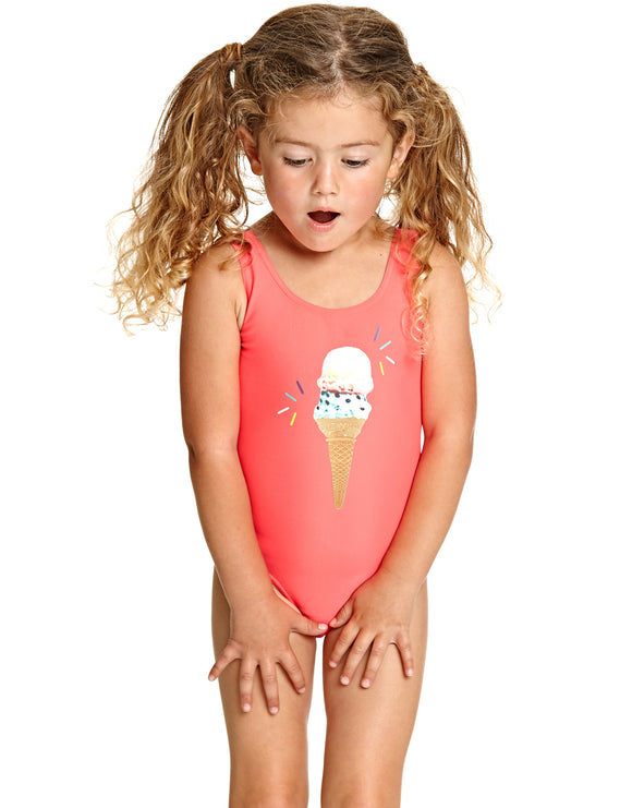 Zoggs Tots Girls Ice Dream Scoopback Swimsuit