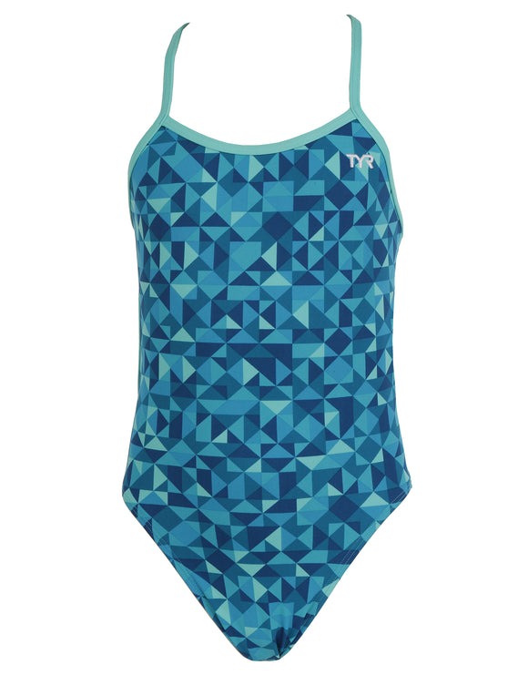 Tyr Girls Optic Crosscutfit Tieback Swimsuit - Teal