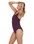 Speedo Boomstar Allover Muscleback Swimsuit - Black and Purple - Side View