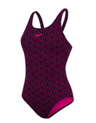 Speedo Boomstar Allover Muscleback Swimsuit - Black and Purple