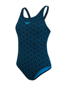 Speedo Boomstar Allover Muscleback Swimsuit - Navy - Close Up