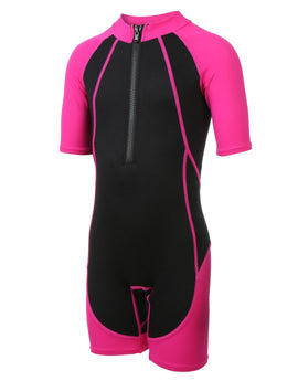 Simply Swim Childrens Shorty Wetsuit - Black and Pink
