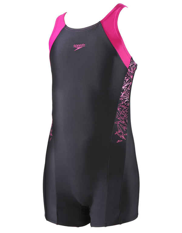 Speedo Girls Endurance 10 Boom Splice Legsuit - Black and Pink