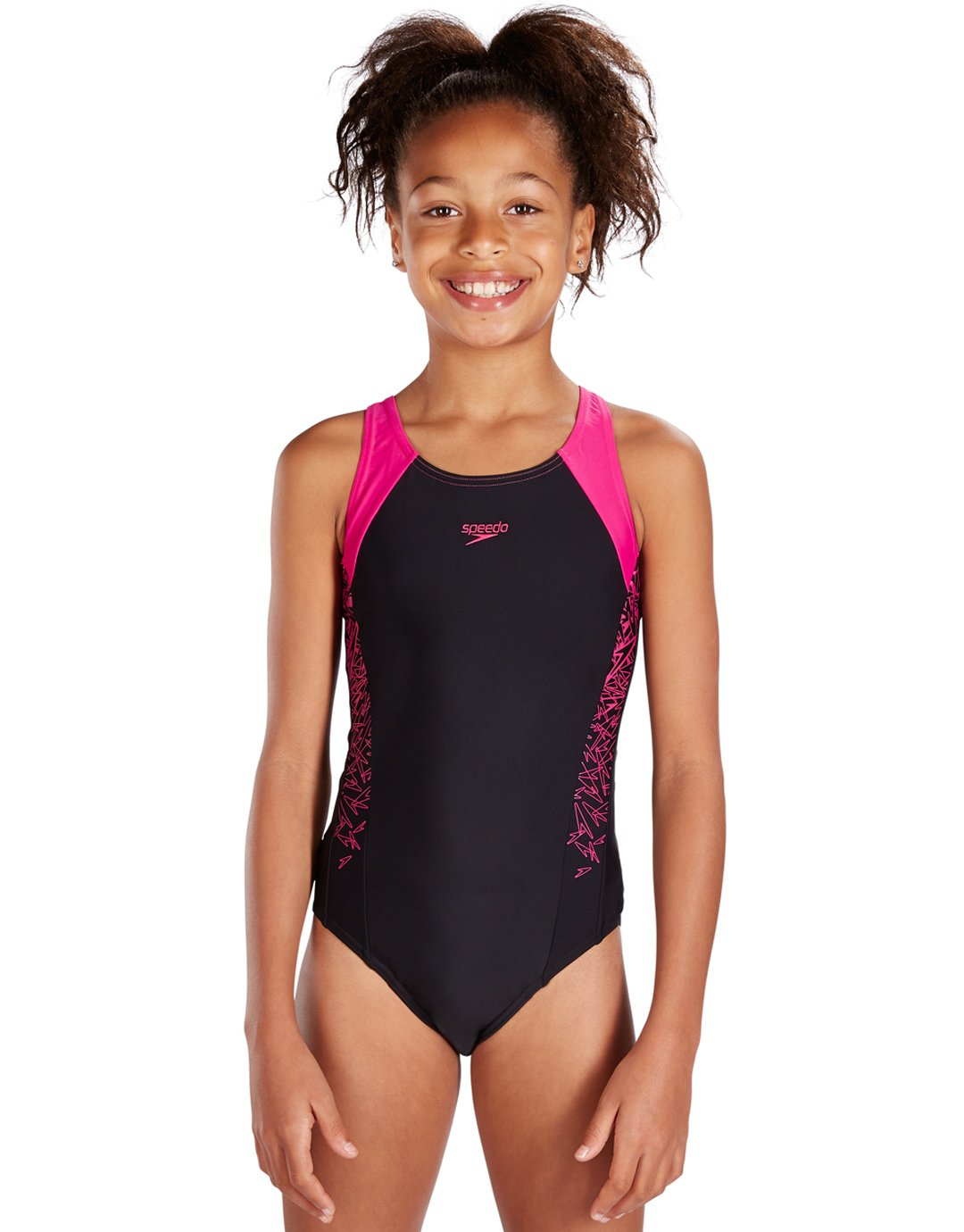 speedo girls endurance 10 boom splice muscleback - black and pink