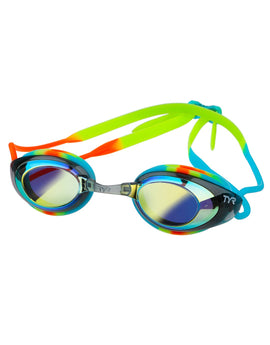 Tyr Black Hawk Racing Mirrored Junior Goggle - Blue/Orange