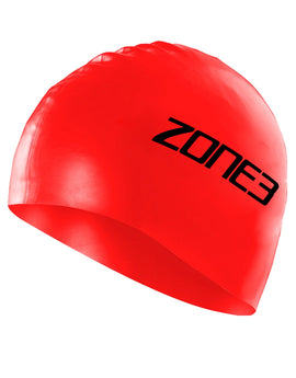 Zone 3 Silicone Swim Cap - Red