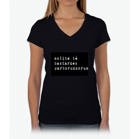 """Don't let the bastards grind you down"" Latin - white on black Womens V-Neck T-Shirt"