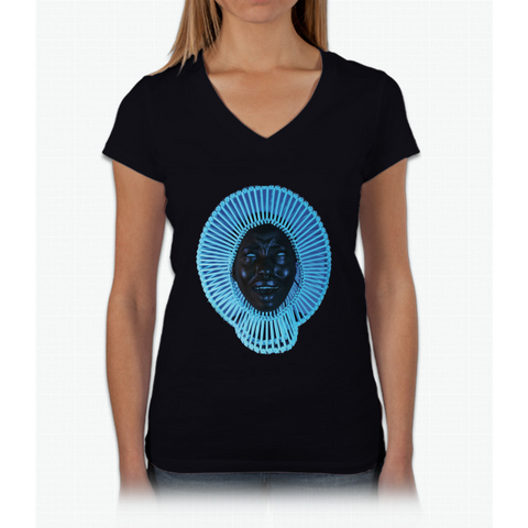 """Awaken, My Love!"" Womens V-Neck T-Shirt"