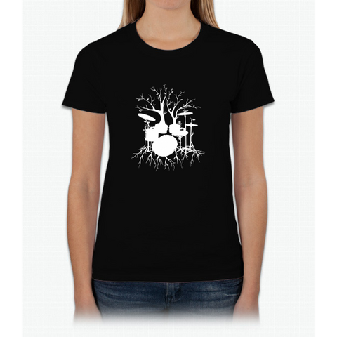 """Live the Beat to the Tempo of Creation"" ~ drum tree art , version1 Womens T-Shirt"