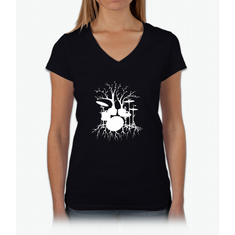 """Live the Beat to the Tempo of Creation"" ~ drum tree art , version1 Womens V-Neck T-Shirt"