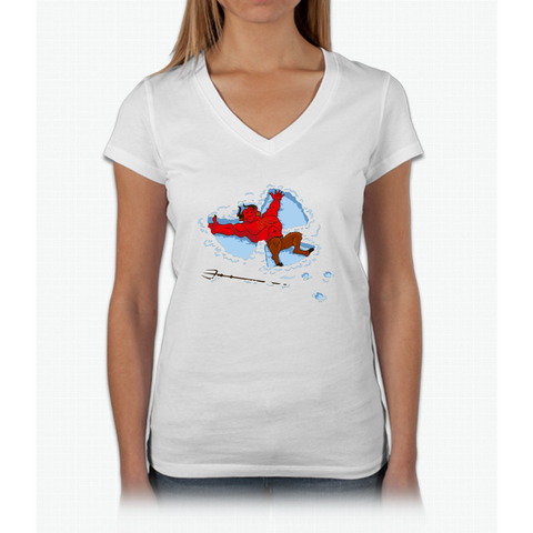 """I Wish I Were"" Snow Devil Womens V-Neck T-Shirt"